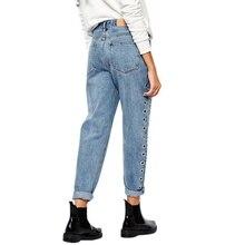 Fashion Rivets Ripped High Waist Jeans Straight Eyelet Detail Boyfriend Denim Jeans Women Pants Female Jeans 2017 Hot Sale
