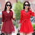 Mulheres Trench Coat 2016 Plus Size Rendas Fino Trespassado Mulheres Casaco de Inverno Roupas Outerwear 5 Cores C209