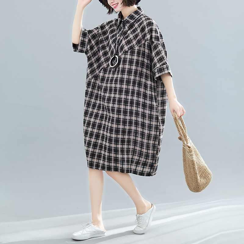 Хлопковое льняное винтажное клетчатое женское повседневное свободное летнее платье-рубашка средней длины Элегантная одежда 2019 женские платья Сарафан