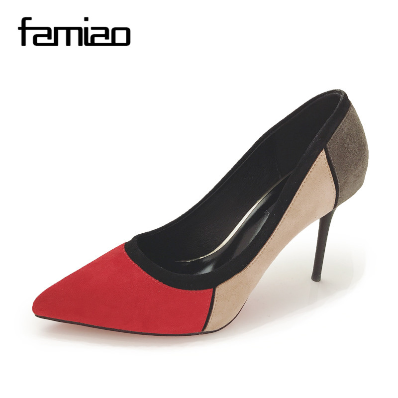 FAMIAO Dress Heels Shoes ladies pumps 2017 Mixed Color Pointed Toe High  Heels Shoes Autumn Wedding dee5543f319e