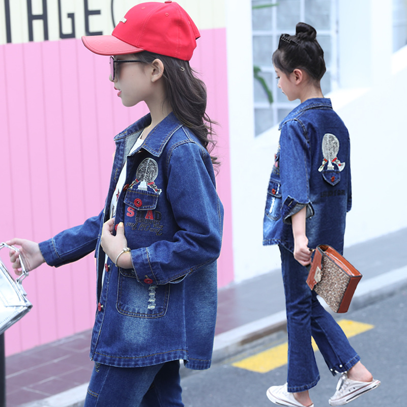 Teens Girls Clothes 10 12 Year Long Sleeved Suit T-shirt Jeans Fashion Children Denim for Little Girls Clothing Sets 2018 Fall недорого