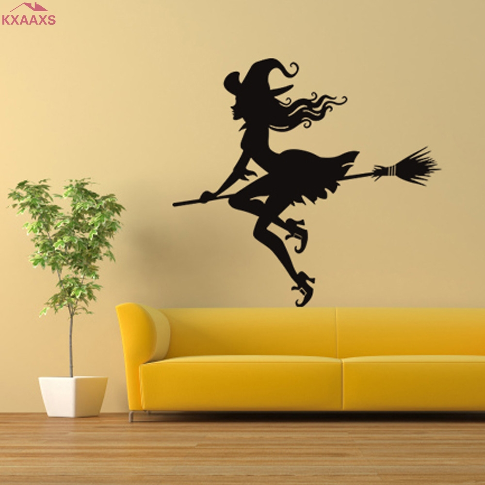 Fantasy Halloween Rooms Fun life Game of Decor Witch Broom Inspired 3D Wall Sticker 3D wall sticker halloween adesivo de parede