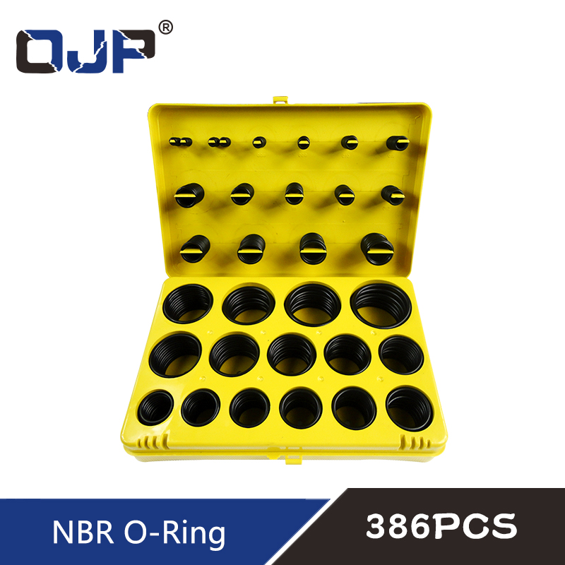 382/386PC Black Rubber Ring 30Size Nitrile O ring Seal Washer Sealing NBR O-ring Gasket Red/Blue/Yellow Assortment Set Kit Box