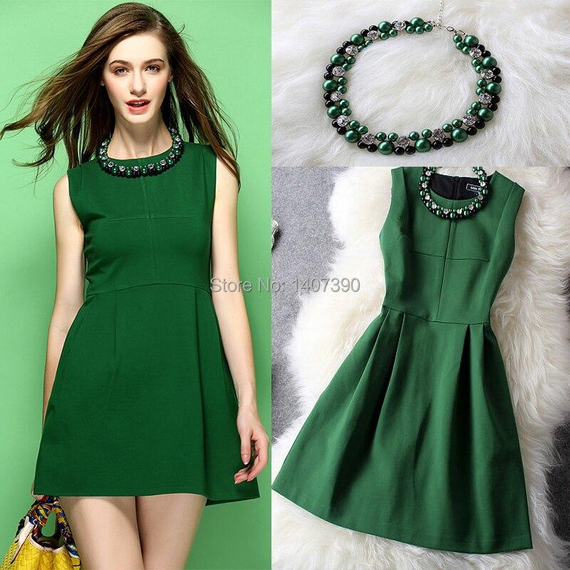 2016 Fashion Women Green Collar Beading Mini Dress Fall Winter ...