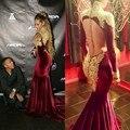 Arabia saudita Dubai Formal 2016 arabesco sirena de manga larga musulmán Sexy Backless borgoña vestidos noche para las mujeres vestidos