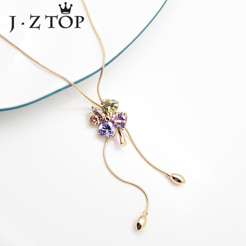 JZTOP Lady Luxury Crystal Flower Choker Necklace Woman Multicolor Rhinestone Adjustable Clover Necklaces Female Wedding Jewelry