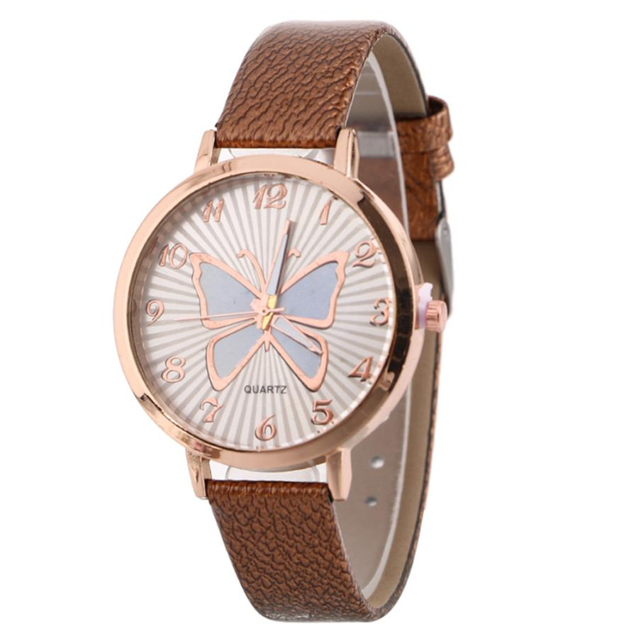 19d80157b5 Watches Women 2018 Fashion Leather Strap Butterfly Female Clock Ladies  Quartz Wrist Watch Montre Femme Gift. sku: 32895139460
