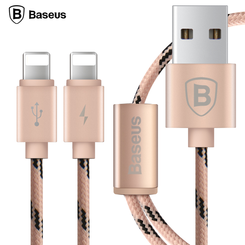 Amazing Baseus Nylon Braided Dual 8pin USB Cable For Lightning Cable For IPhone 7  5S 6 5