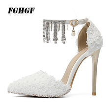 sandals stilettos White lace toe shoes Female high-heeled shoes fashion sexy The banquet Women's shoes Big yards 32 to 47 the pearl is high with the female sandals 2017 new fashion fine with banquet sexy diamond open toed wedding shoes 34 40 yards