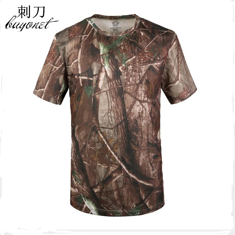 Qualified New Summer Outdoor Short-sleeved Camouflage Hunting Hiking Tops Men Army Tactical Breathable Bionic Camo Tees Camping T-shirt Wrench