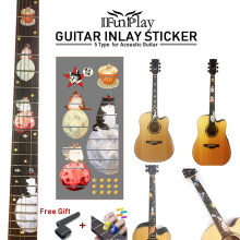 DIY Guitar Inlay Sticker Space roaming Decals for Electric Acoustic Guitar Meow star People Space Deer and Snow Bird Stickers(China)