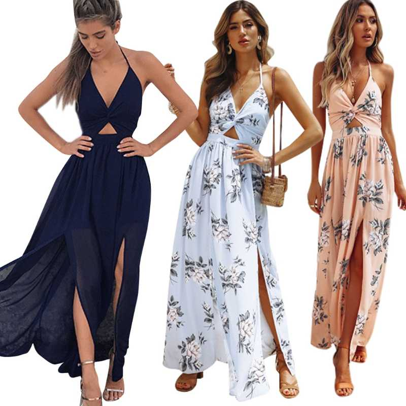 2018 New Women BOHO Floral Print Beach Dress Sleeveless Maxi Dress Party Dress