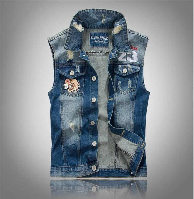 82db1862e564f5 Brand Mens Denim Vest Men Cowboy Sleeveless HoodedjeansCamouflage Indian  Head denim vest vest waistcoat hole