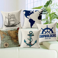 45 * 45 cm nautical anchor sailors sailing map printed cotton and linen cushion for leaning on