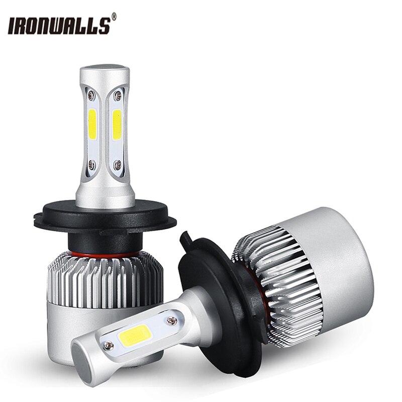 Ironwalls H4 H7 Car Led Headlight Bulbs H11 H13 9005 9006 9007 9012 H1 H3 Auto LED Lights Head Lamp COB 72W 8000LM 6500K 12V 24V auxmart auto led h1 h3 9005 9006 h7 led headlight car lights 72w 6500k h8 led h11 fog lamps cob chips led h4 car bulbs t5 series