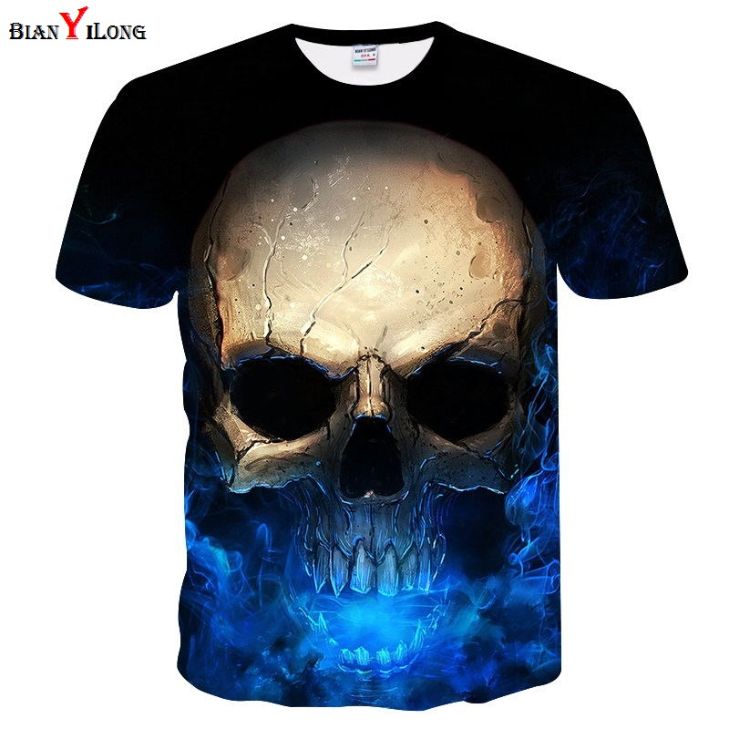 2018 Newest Harajuku Skull 3D Print Cool T-shirt Men/Women Short Sleeve Summer Tops Tees ...