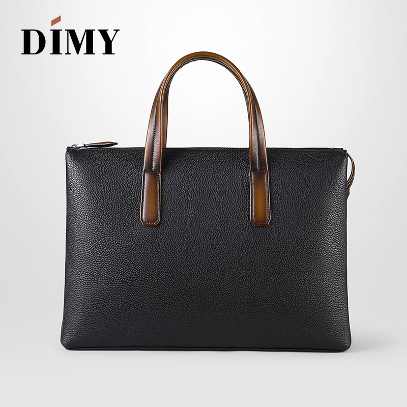 2019 Newest Trend Men 39 s Handbag Business Briefcase Togo Lychee Layer Cowhide Leather 14 Inch Laptop Bag Dimy Man Christmas Gifts in Briefcases from Luggage amp Bags