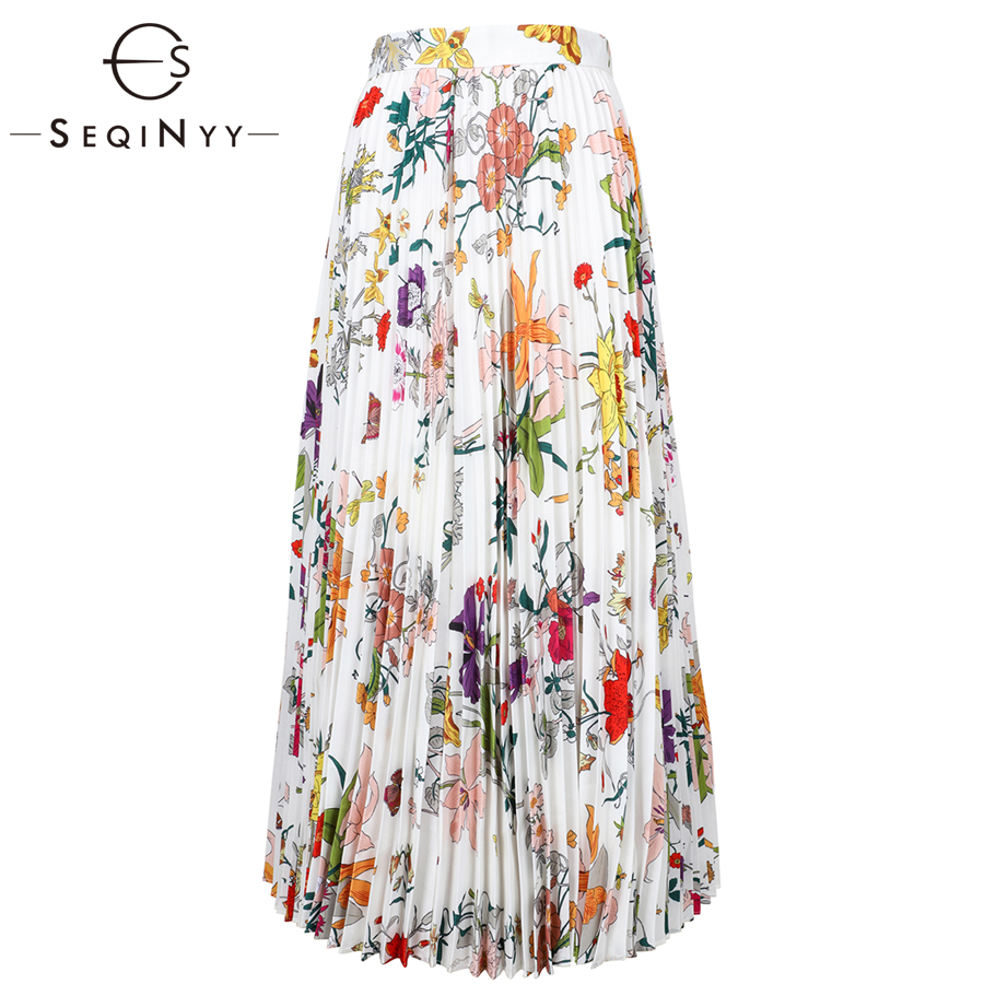 SEQINYY Casual Skirt 2019 Summer Spring New Fashion Colorful Flowers Printed Pleated Long Skirt Casual Women-in Skirts from Women's Clothing    1