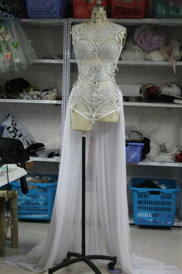 silver perspective sequins one piece paillette bodysuit costumes sexy female singer jazz dance stage wear show