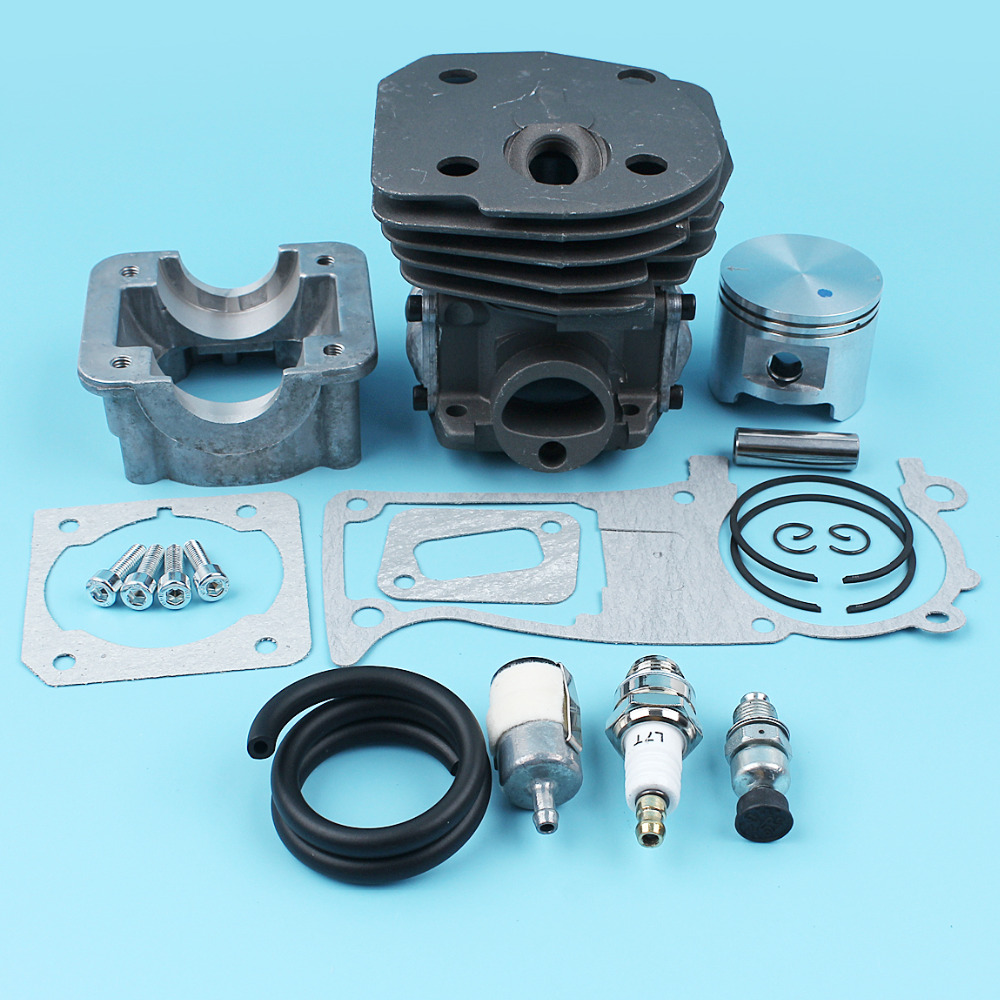 45mm BIG BORE Cylinder Piston Engine Pan Gasket Kit for Husqvarna 353 351 350 346 345 340 Chainsaw 537253002 Decompression Valve nikasil cylinder piston kit 45mm big bore fits husqvarna 353 351 350 346xp epa 345 340 chainsaw decompression valve fuel filter