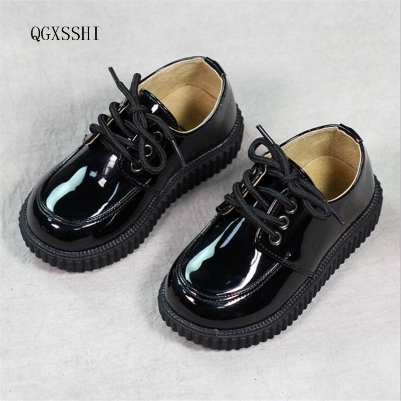 QGXSSHI boys genuine leather shoes baby Bright skin kids shoes loafers sneakers children girls boys School performance shoes