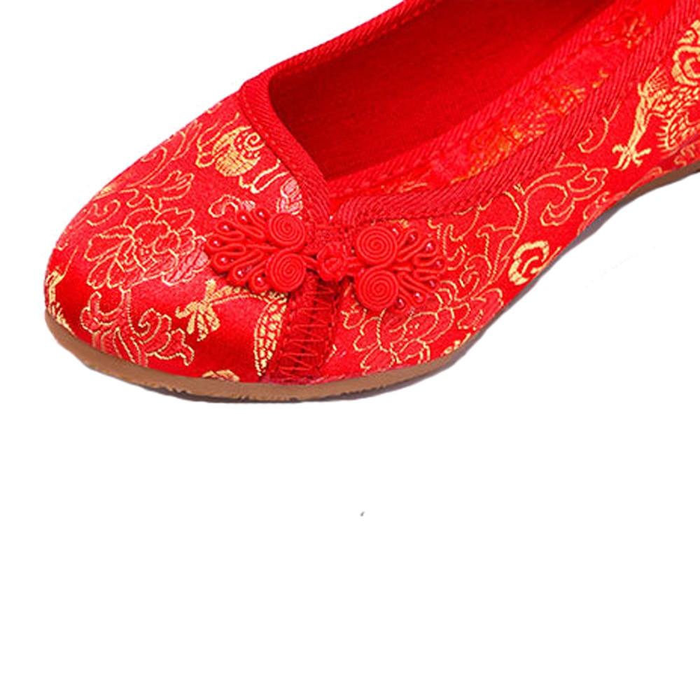 Mariée Femmes Phoenix Cheongsam Mariage Chinois Pour Vieux National Pékin Appartements Unique Chaussures Dragon Rouge Broderie De A7rAnZH