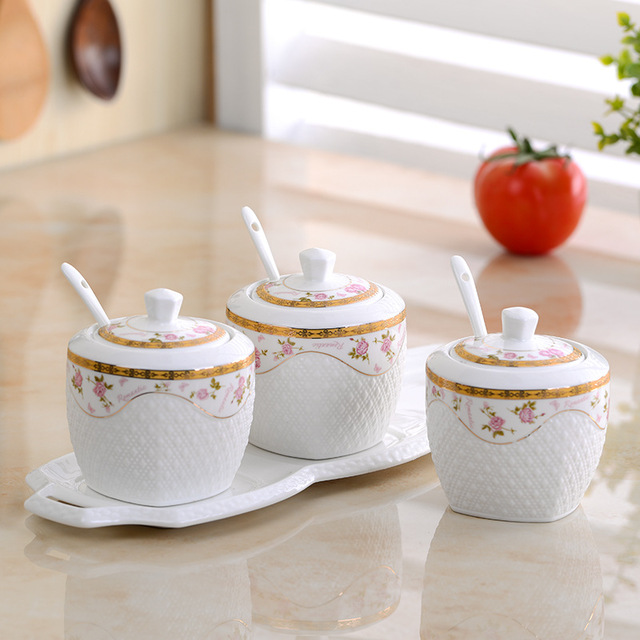 3pcs/Set Seasoning Pot White Ceramic Sugar Bowl With Glass Cover Ceramic Spoon With Porcelain Plate Spice Tools Kitchen Supplies