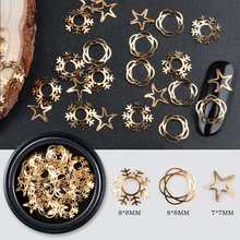 Metal Computer Beaded Patch, Filigree Findings, For Nail Art Decoration Tweezers, Flower & Star Christmas Snowflake, Golden