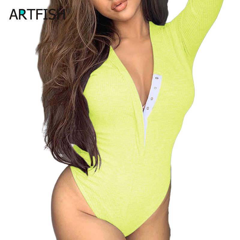 Bodysuit de Otoño de punto con hebilla acanalada con cuello en V y flacos de neón fluorescente Romoer para fiesta para mujeres traje de ropa GV764