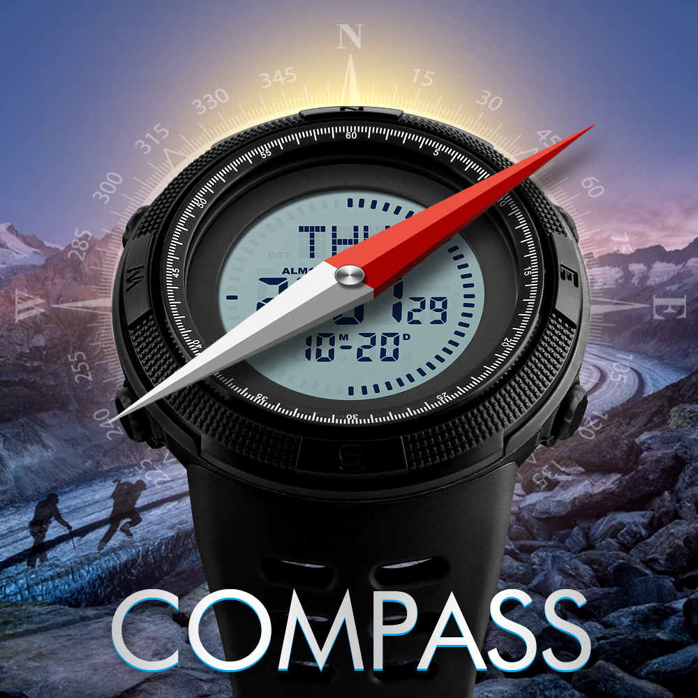 SKMEI Brand Compass Watches 5ATM Water Proof Digital Outdoor Men's Sports Watch Military Countdown Wrist Watches Male Clock 1254