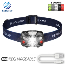 USB Rechargeable LED Headlamp Sensory switch 6 lighting modes White light + Red light For night fishing, camping, adventure,etc.