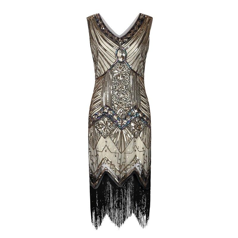 2019 Elegant Sequins Party Dress Womens Summer Sleeveless V Neck Sexy Midi Dresses Vintage Beaded Fringe Dresses Woman Dresses