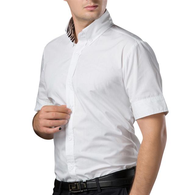 Verão dos homens camisa 2016 algodão de Negócios Casuais camisa dos homens de manga curta Camisas de Vestido Slim Fit Turn-down Camisa de Colarinho masculino