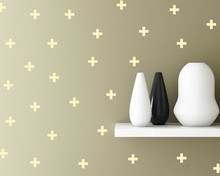 24pcs Removable Plus Cross Pattern Shape Vinyl Decal Wall Stickers for Living Room Decoration