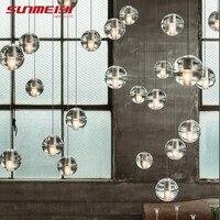 LED Pendant Stair Lights Loft Coffee Bedroom Lighting lustres e pendentes para sala de jantar Modern Glass Pendant Lamps