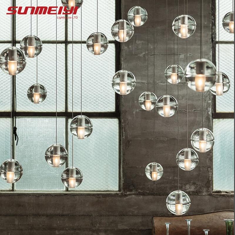 Luces de escalera colgantes LED Loft café dormitorio iluminación lustres e colgantes para sala de jantar lámparas colgantes de vidrio modernas