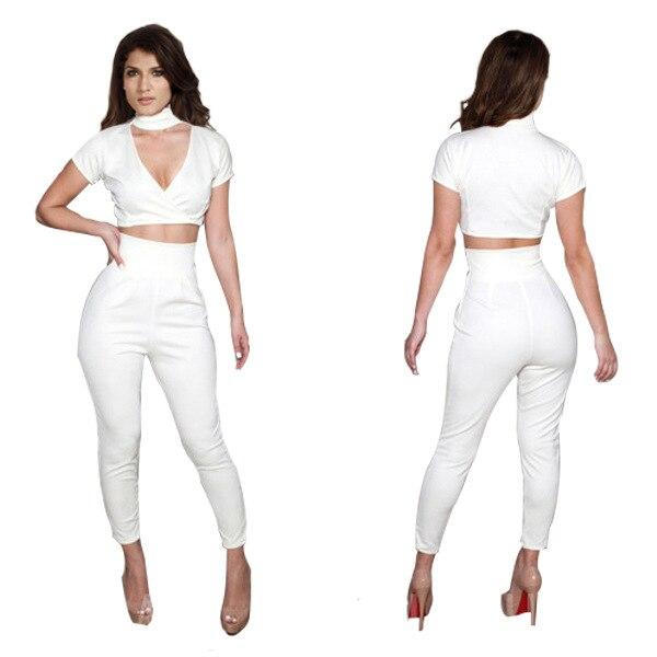 Women Summer Dresses 2014 Fashion Sexy Piece Pants Suit Pure White