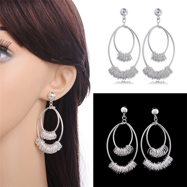 Fashion Long Multiple Hoop Earrings Silver Color Chandelier Interlocking Circle Design Ear Accessories