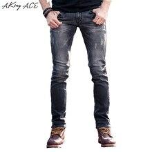 2017 AKing ACE Ripped Jeans for men designer mens light Grey biker jeans skinny slim fit 29-36 rip jeans denim man, ZA258