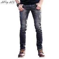 2017 AKing ACE Ripped Jeans voor mannen designer mens light Grey biker jeans skinny slim fit 29-36 rip jeans denim man, ZA258