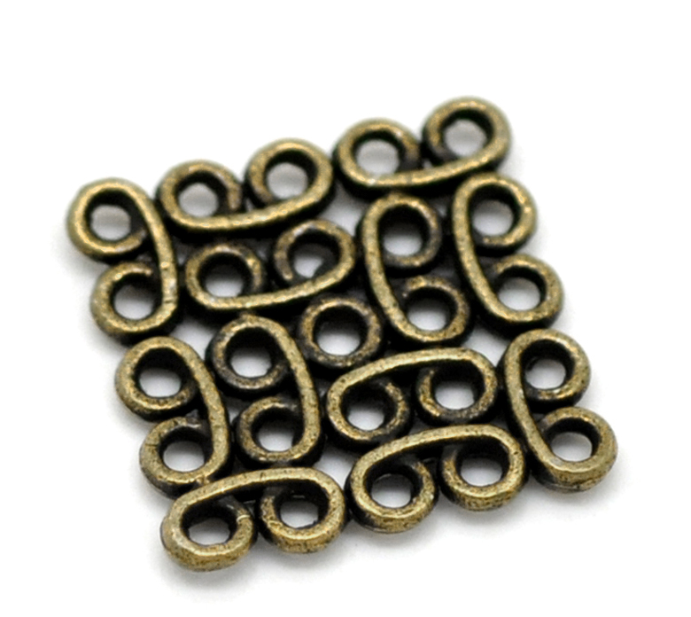 Zinc Metal Alloy Connectors Findings Square Antique Bronze Color Plated 15mm( 5/8