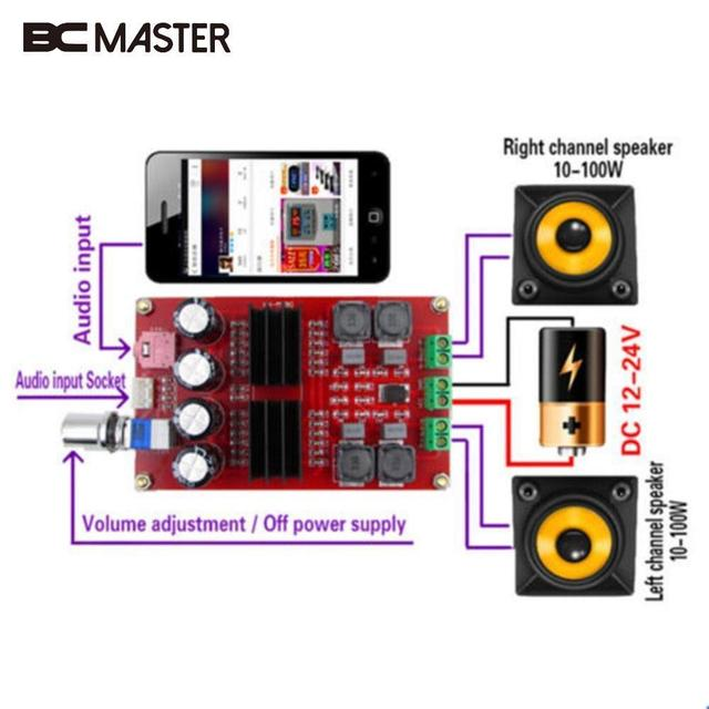 Bcmaster 2x100w Tpa3116 2 Channel Digital Audio Amplifier Amp Board For Arduino Portable Professional Home Theater Amplifiers