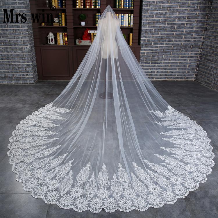 3M Super Long White Flower Crocheted Wedding Accessory Luxury Korea Sweep Brush Dress Church Bridal Wedding