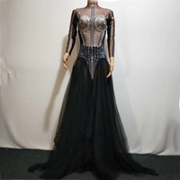 2019 Women Dress Crystals Black Voile Long Summer Dresses Party Clothes Woman Stage Sexy Costume Singer Performance Wear DT512