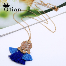 Qtian Tassel Pendant Necklace Women Necklaces & Pendants Choker Long Vintage Ethnic Bohemian 2019 Fashion Jewelry