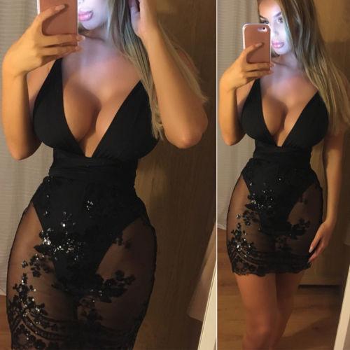 Deep v-neck black sparkly mesh dress