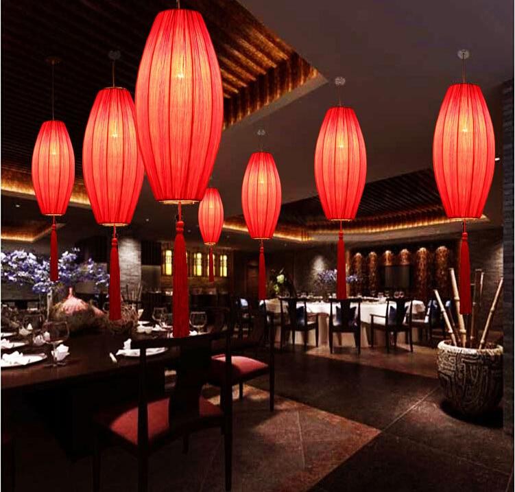NEW Chinese style antique pendant light lantern Hot pot shop Restaurant Restaurant Chinese cloth long ZS129 light tan jiachuan restaurant