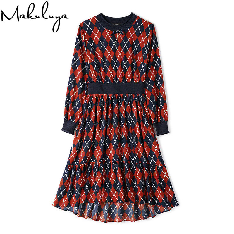 Makuluya XL Quality Special Long Sleeve Women Dresses O-Neck Plaid Style Slim Waist Grace Dresses Spring A-line Dresses QW