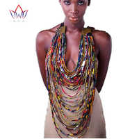 2018 African Handmade Necklace for Women Bohemia Rope Chain Statement Necklace Cotton Wax Fabric Pendant for Lady Gift WYA12