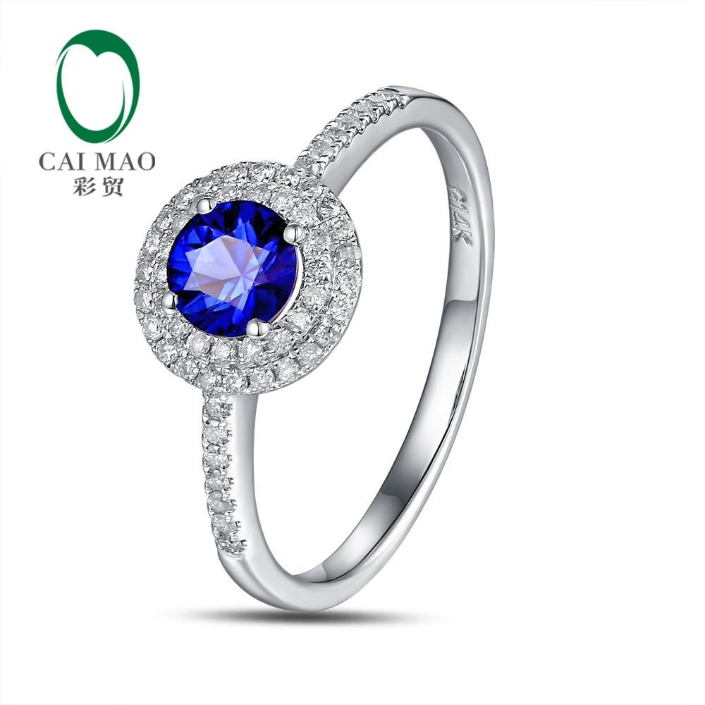 Doprava zdarma Sada přírodních dlažeb Diamant 4mm kulatý řez 0,56ct Sapphire Engagement 14 K White Gold Hot Sale Ring